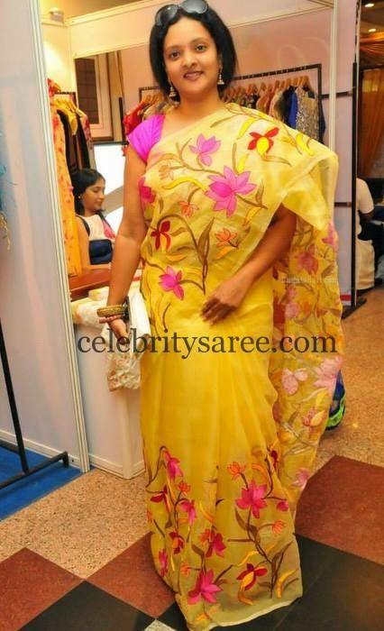 Deepthi Shree Painted Saree | Saree Blouse Patterns