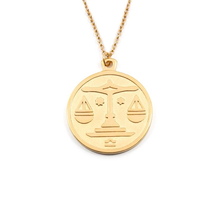 Libra Gold Zodiac Necklace (short) by Anna Saccone for Stilnest