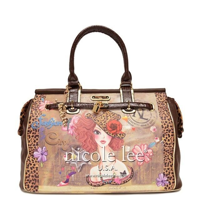 New Large Brown shoulder tote Nicole Lee handbag authentic shoulder bag