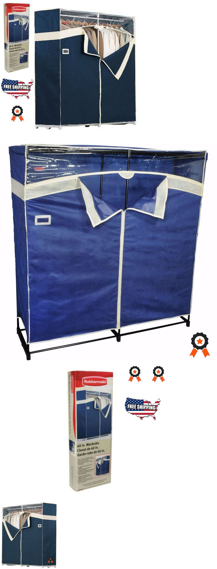 household items: Closet Garment Storage Rack Organizer 60 Clothes Portable Wardrobe Hanger Cover BUY IT NOW ONLY: $122.09