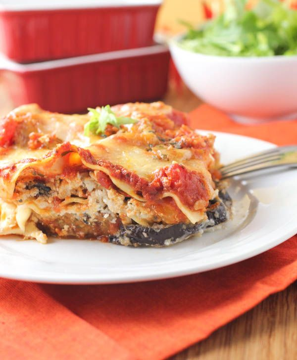 Eggplant Parmesan Lasagna. Making this right now. Of course I added or subtracted items. Can't wait to taste it :-)