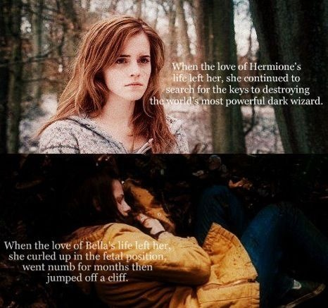 who do you want your daughter to be? katniss or bella?: Hermione, Quote, Twilight, Bella Swan, Movie, Funny Stuff, So True, Harry Potter, Role Models