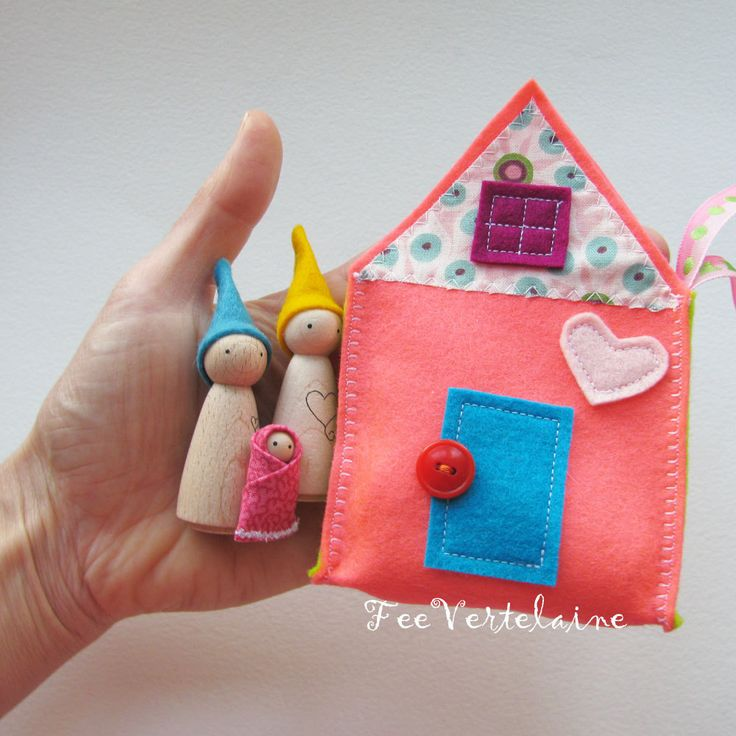 Waldorf toys all natural- Sweet little travelling gnome family house - YELLOW. via Etsy.