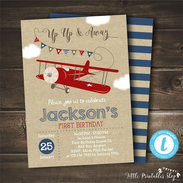 Excited to share the latest addition to my #etsy shop: Airplane Birthday Invitation, INSTANT DOWNLOAD, Up Up and Away, Editable with Templett, Printable Digital Invitation, Vintage Airplane, Boy http://etsy.me/2FidXqI