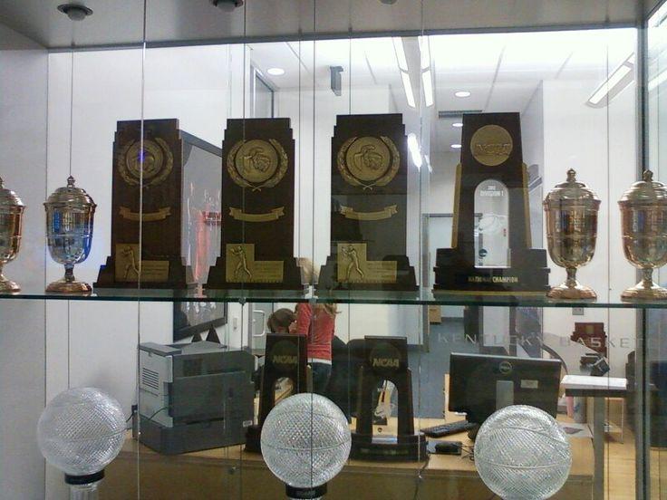 UK basketball championship trophies at Craft Center on University Kentucky campus