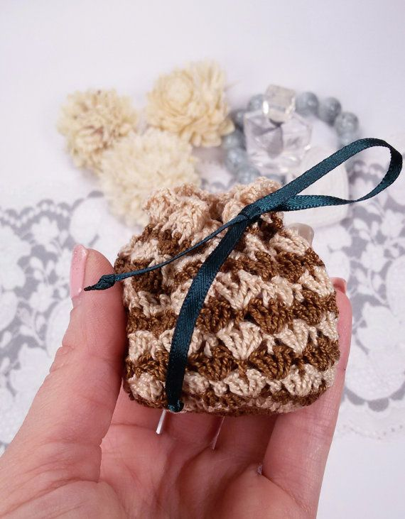 Brown crochet jewelry pouch crochet gift bag brown by Rocreanique on Etsy