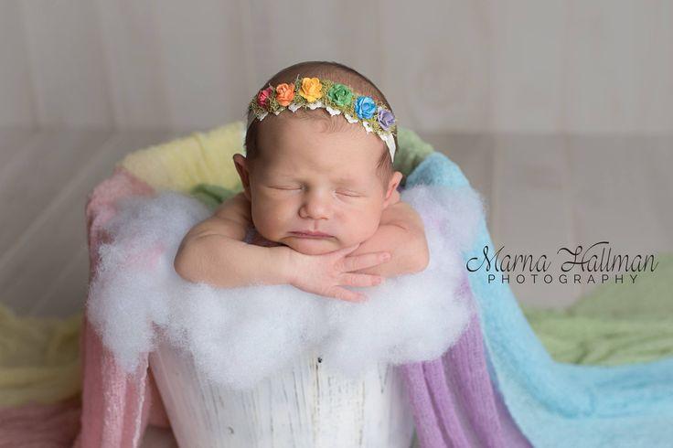 Rainbow Tieback, Rainbow Headband, Rainbow Baby Headband, Baby Headband, Newborn Tieback, Rainbow Flower Headband, Rainbow Halo by WillowTreeGardens on Etsy