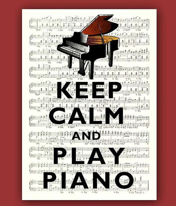 Keep calm and play piano Print Poster on an old music sheet, Large size 11x14, Keep calm art, Keep calm wall
