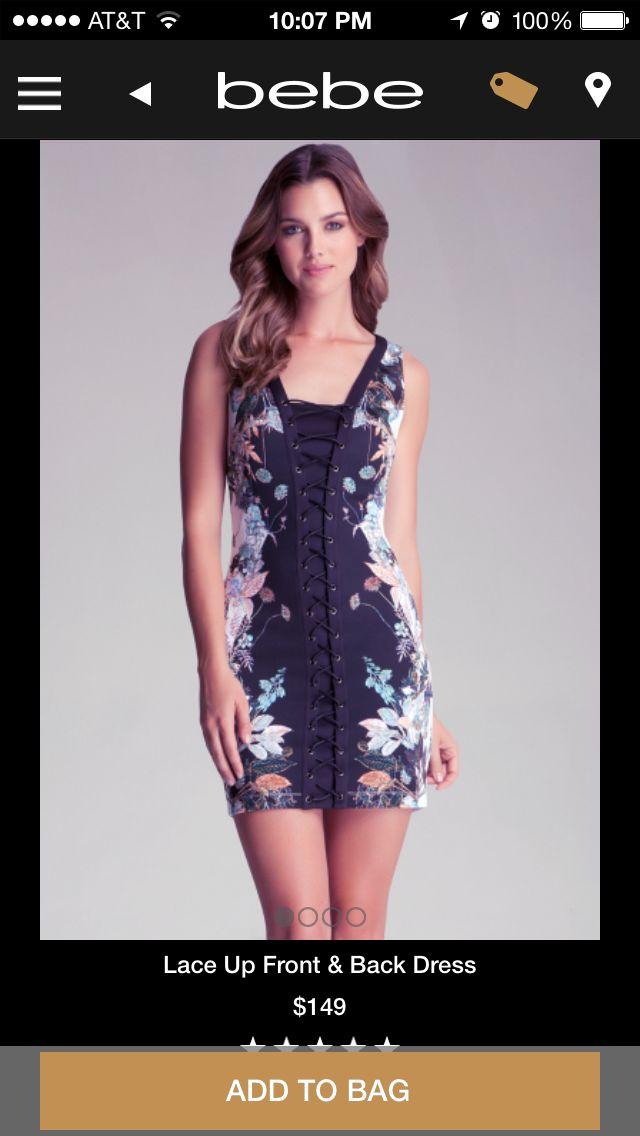 Bebe back lace up dress