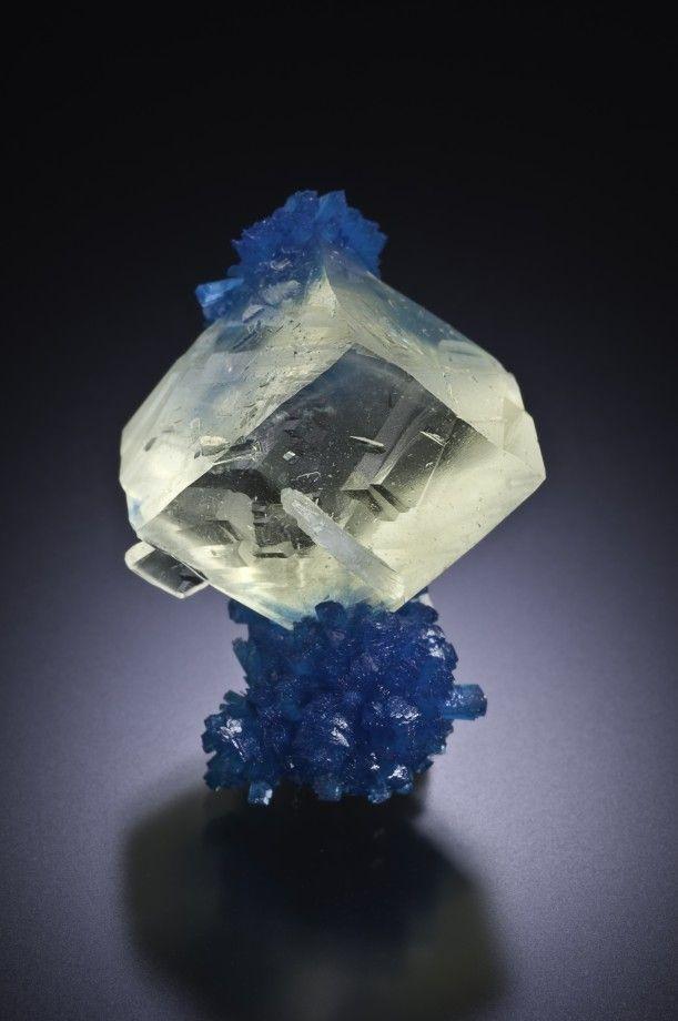 Calcite with Cavansite - Wagholi Quarries, Maharashtra, India Size: 3.5 cm