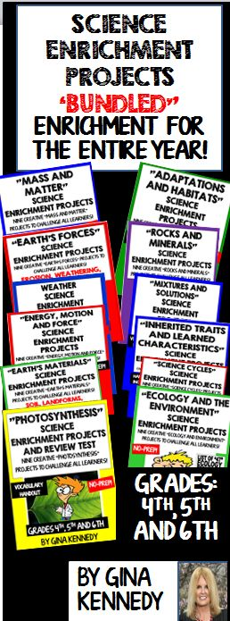 No Prep Science Enrichment Projects for the Entire Year! Fun, creative ways to provide enrichment for every science concept! Vocabulary handouts included with each product. I have bundled twelve amazing science products for one great price.  Science Enrichment Products Included in this Bundle: Weather Mass and Matter Ecology Science Cycles Energy, Force and Motion Mixtures and Solution Inherited Traits and Learned Characteristics Animal Adaptions and Habitats Photosynthesis Weathering and…