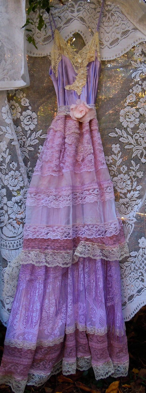 Fata's Vardo:  #Bohemian fashion ~ Purple lace dress party lavender mauve fringe, by vintageopulence.