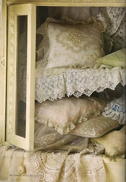 cushions and vintage lace