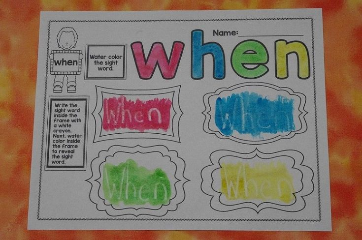 Write the sight word in white crayon so it seems invisible. Then, water color over it to reveal the sight word. Perfect for sight word centers!