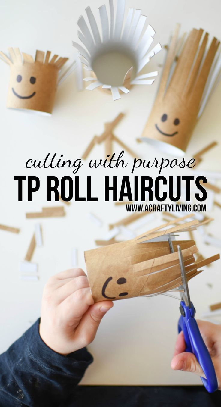 Cutting Invitation for Toddlers & Preschoolers with hidden learning & skill building opportunities! Practice Scissor Skills with TP Roll Haircuts! http://www.acraftyliving.com