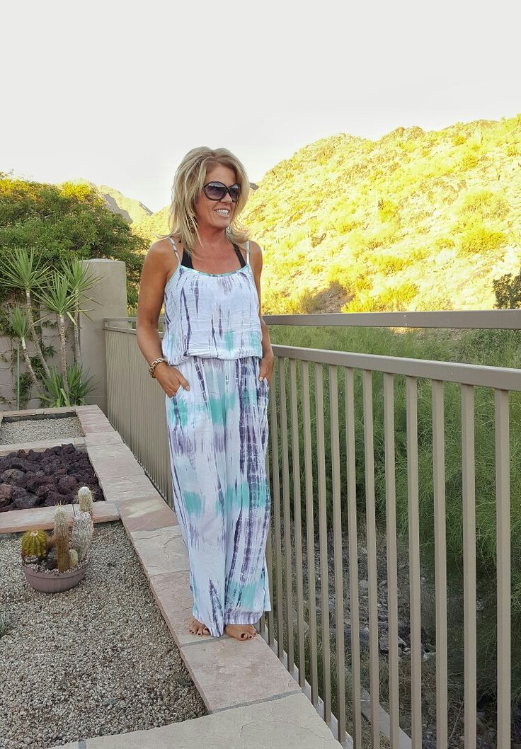 Resort style jumpsuit coverup. Tie-dye turquoise and gray!