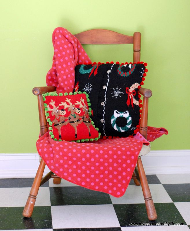 DIY Ugly Christmas Sweater Pillows | My So Called Crafty Life & 109 best Christmas Pillows images on Pinterest | Christmas pillow ... pillowsntoast.com
