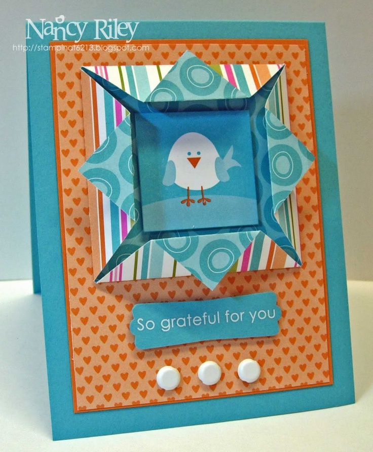 handmade card from i STAMP by Nancy Riley ... origami shadow box frame fold  holds main image,,, cute chic framed ,,, luv the vibrant look of constrasting aqua and orange colors ...Stampin' Up!