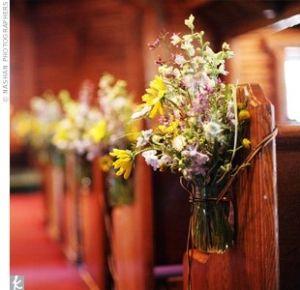 pew decorations: Wild Flower, Country Church, Mason Jars Pew Decor, Pew Markers, Wedding Decor, Country Wedding, Pew Decorations, Church Pew, Mason Jars Wedding