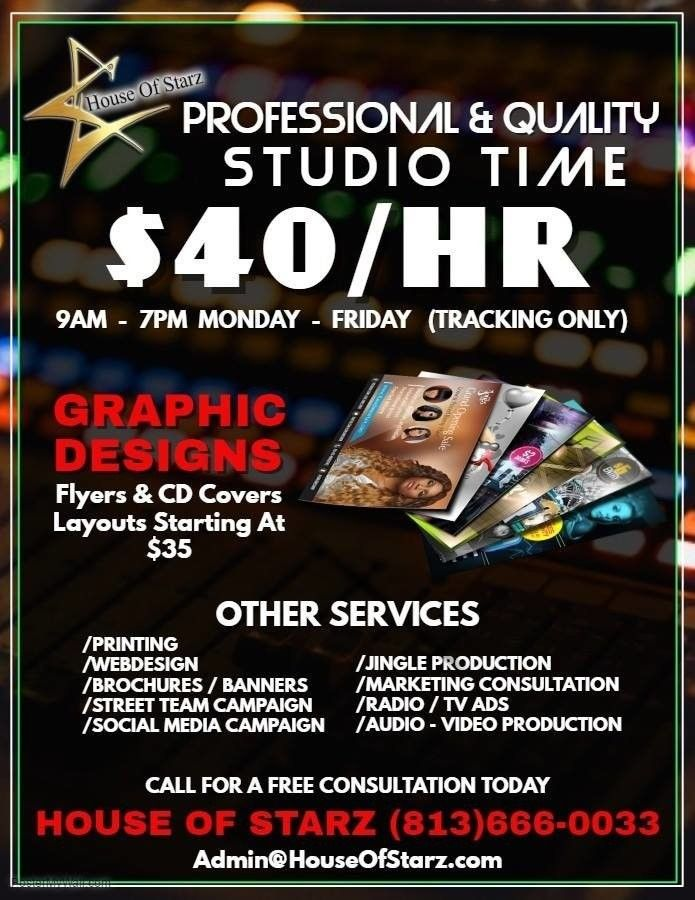 40 Hr Studio Time Offer Ends Thursday March 15th 2018 Your Running Out Of Time Book Your Appointment Now 813 666 0033 Http Wu Vibes Radio Tv Ads Starz