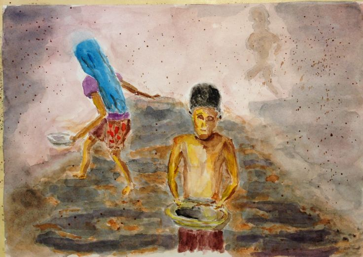 """This is """"Children Scavemge Bangladesh Dump,"""" from photo made available for public use, on 10""""x12"""" Fabriano Artistico hp paper - expressionist - for my child labor series  (c) 2016 Wes Rehberg"""