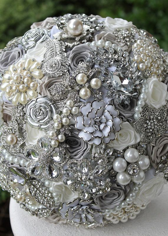 Silver Wedding Brooch Bouquet. Deposit on made to order