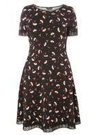 Womens DP Curve Plus Size Black Floral Lace Trim Dress- Black