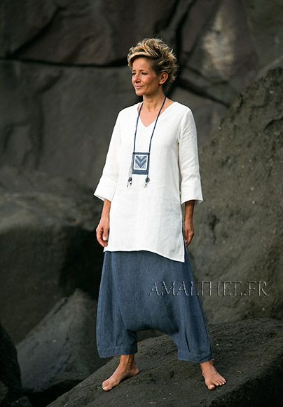 Women apparel: natural white fine linen tunic with a denim blue chambray linen harem pants, high quality European flax