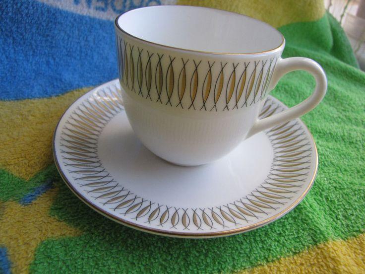 Sweden Gustavsberg tea coffe pair cup saucer plate Vintage Spinett Guld Decor #Gustavsberg