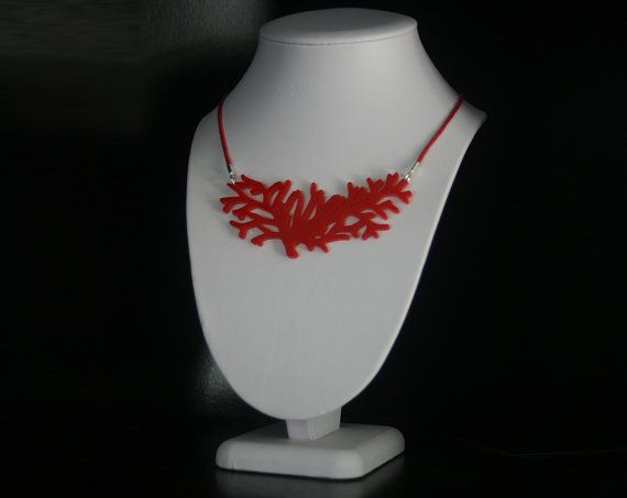 Decorative Red Coral Design Laser Cut Acrylic Plastic Bib Necklace in Red #statement #necklace #red