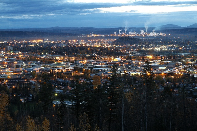 Prince George, BC by PG Dan, via Flickr - you can clearly see the center of the city's economy in the background: the pulp mill / oil refinery