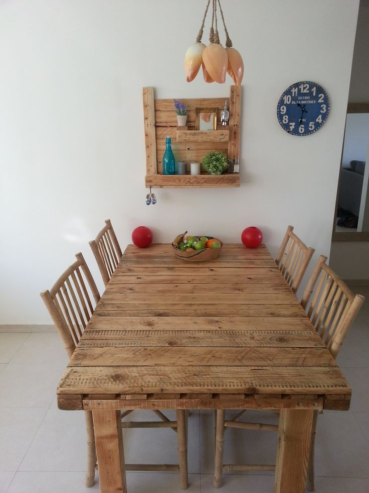 It took me 4 hours to make this kitchen table and the shelf on the wall.…