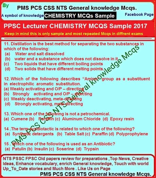 Lecturer Of Chemistry Past Papers Ajkpsc Ppsc Fpsc Nts Chemistry Chemistry Past Papers Past Papers Chemistry