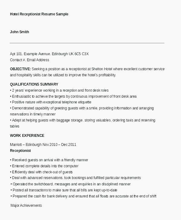 28 Front Desk Receptionist Description Cover Letter Templates
