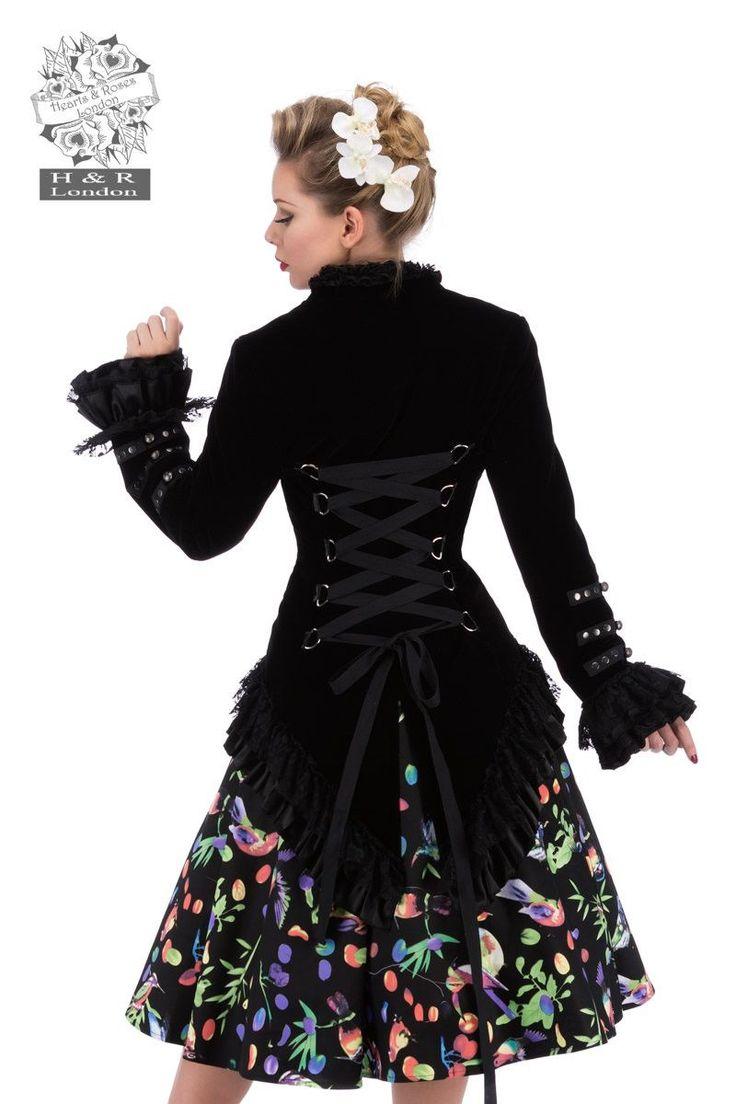 Veste Gothique Victorien Queue de Pie Velours Gloria                                                                                                                                                                                 Plus
