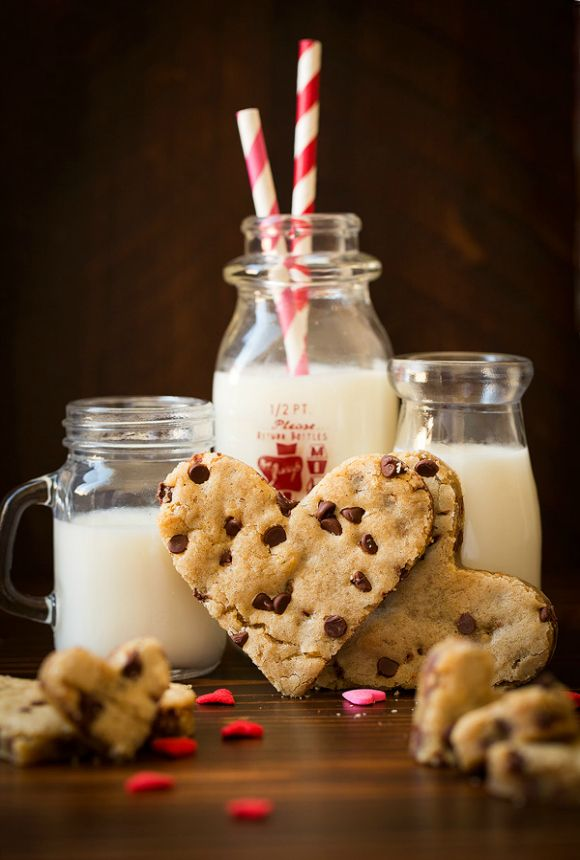 Heart Shaped Chocolate Chip Blondies