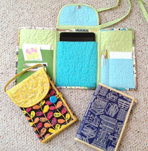 Sew your own tablet tote for carrying your iPad Mini, Nook, Kindle, Nexus 7 or other seven inch tablet. Quilting gives it some padded protection. Pockets on the side flaps give you room to store a stylus or pen, a small notepad, as well as business cards, credit cards, or bit of cash. Holds a lot, but not too big and bulky. These totes are the perfect sewing project to practice your free-motion quilting skills. With three different styles to choose from, an optional outer flap, long or…