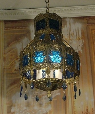 Vintage Bohemian Lantern Chandelier w Blue Glass and Blue Crystals