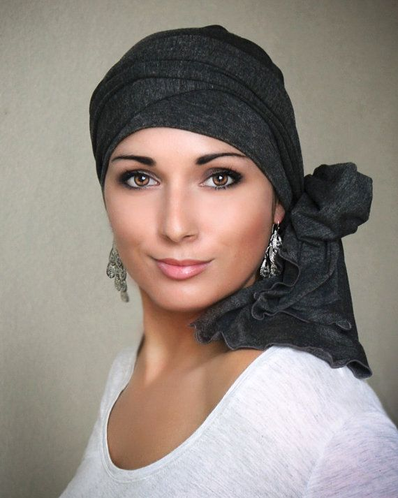 78-08 Charcoal Gray Heather Turban Head Wrap Alopecia Head Scarf Chemo Hat & Scarf Set