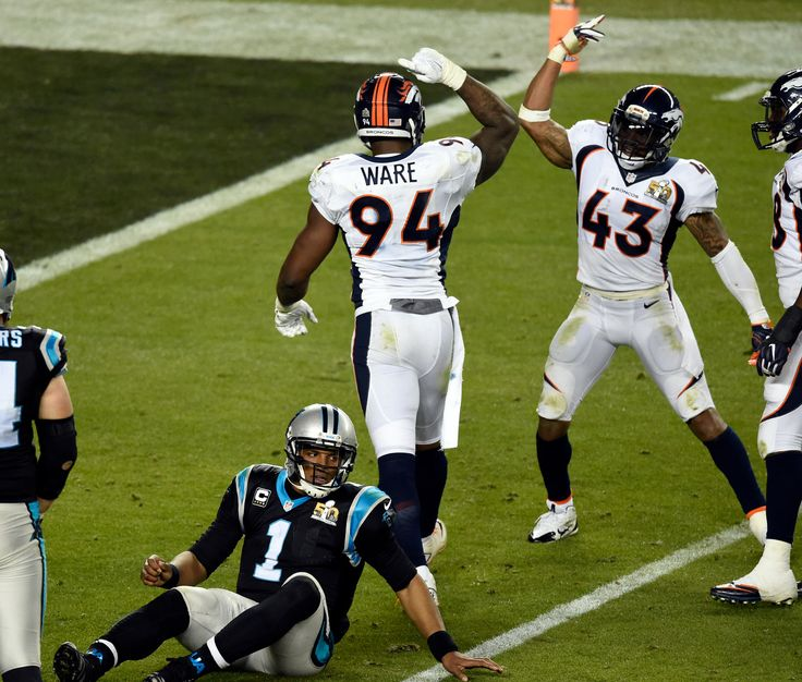 . SANTA CLARA, CA - FEBRUARY 7: DeMarcus Ware (94) of the Denver Broncos and T.J. Ward (43) of the Denver Broncos celebrate sacking Cam Newton (1) of the Carolina Panthers in the fourth quarter. The Denver Broncos played the Carolina Panthers in Super Bowl 50 at Levi's Stadium in Santa Clara, Calif. on February 7, 2016. (Photo by John Leyba/The Denver Post)