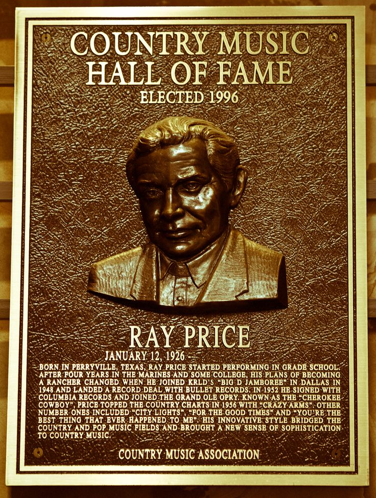 Country Music Hall of Fame Plaques | Ray Price - If She Could See Me Now