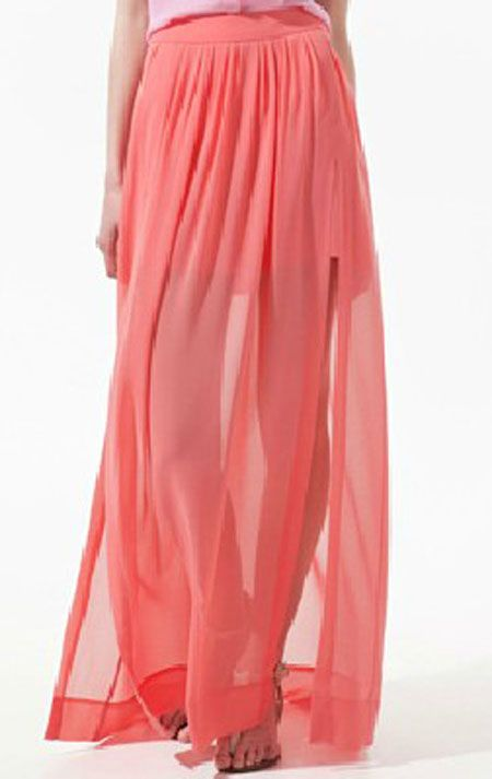 Yay...I finally found it! Leslie's maxi skirt from the hometown date with Sean. LOVE!! Pink Pleated Chiffon Split Side Long Sheer Skirt