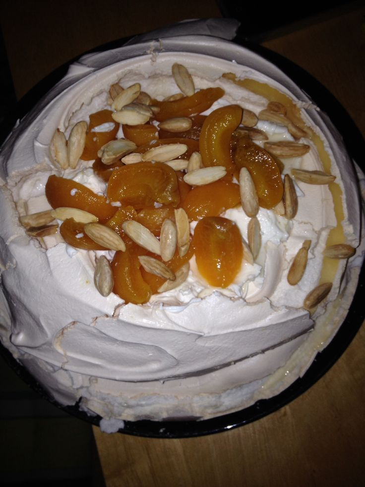 Grand mariner apricot and almond pavlova
