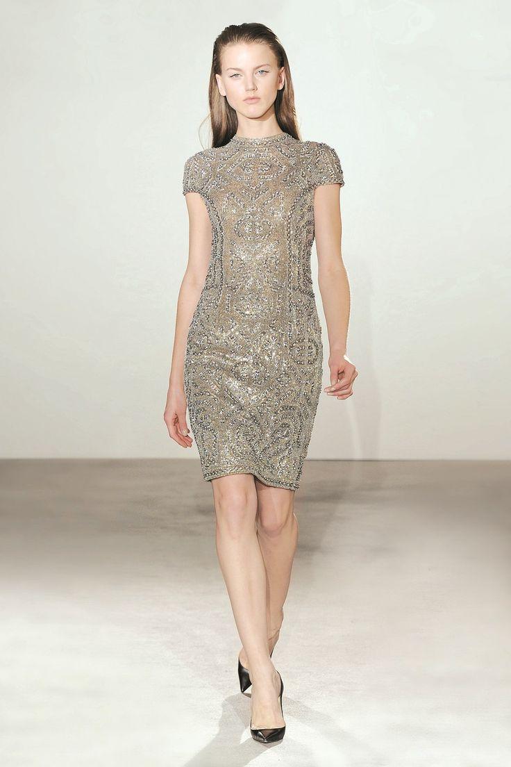 Collette Dinnigan Jewelled Armour Cap Sleeve Dress