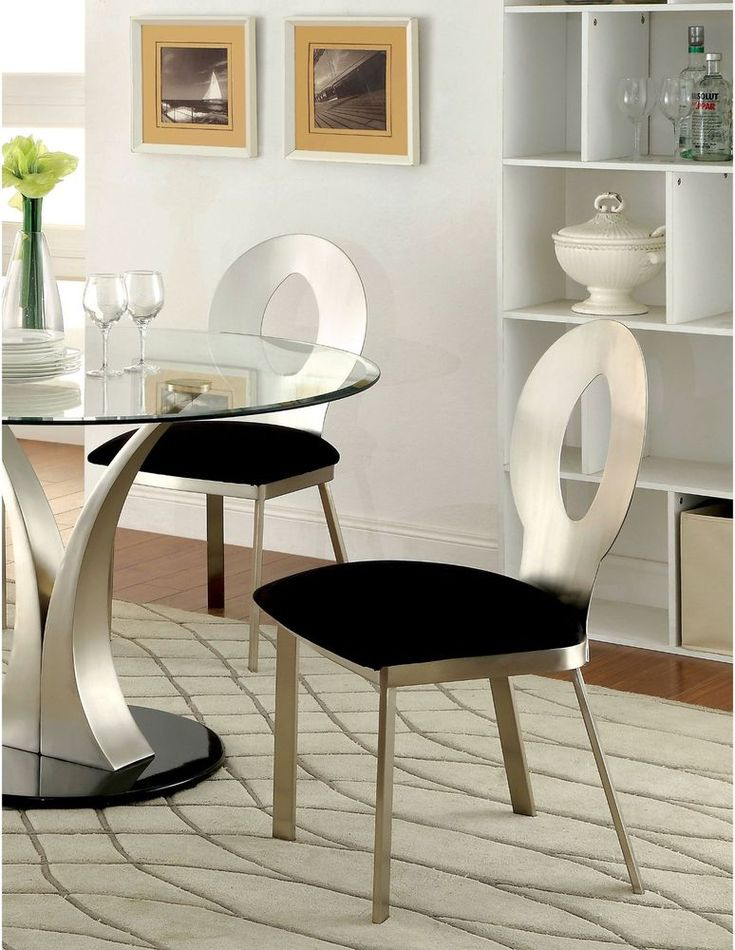 Dining Room Side Chairs Silver Satin Finish Round Keyhole Back 2 Pieces #FurnitureofAmerica #Contemporary
