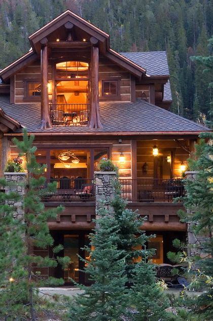 3607 best images about high end lodge and ranch on for Elevated log cabin