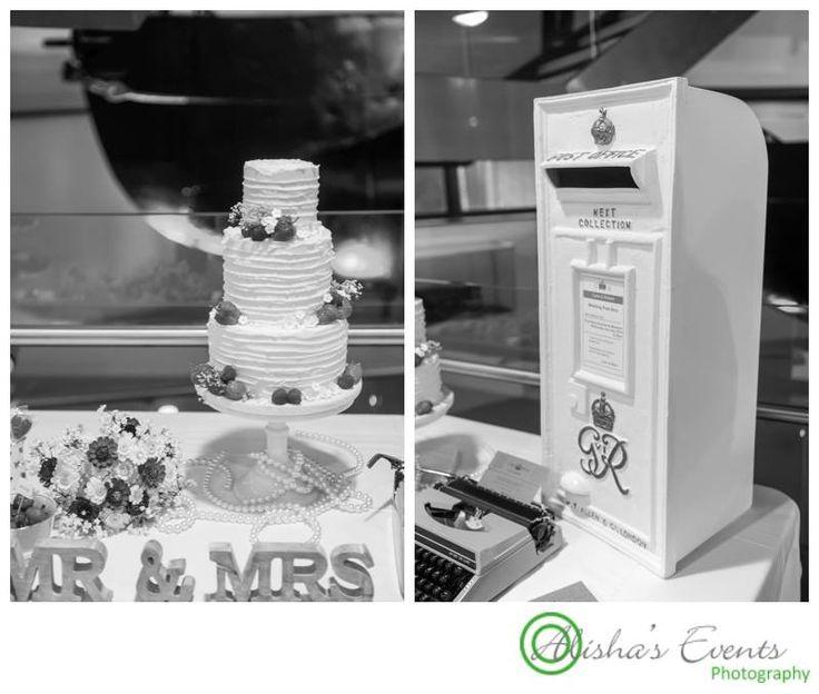 Weddings at Royal Submarine Museum / Wedding photographer Gosport / cake table & wedding post box / www.alishaseventsphotography.co.uk
