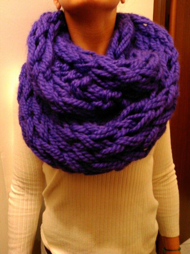 Super bulky cowl-arm knitting