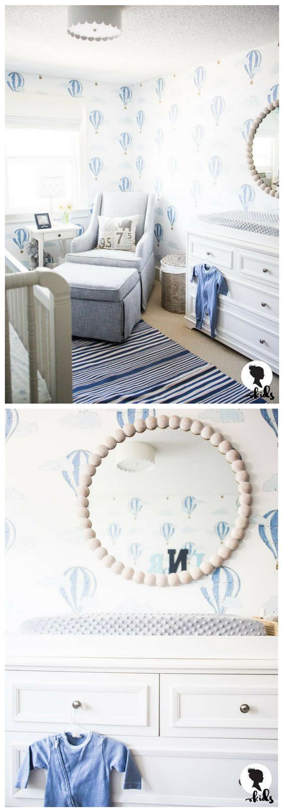 Such a sweet baby boy nursery. Too many air balloons, but love the soft blue