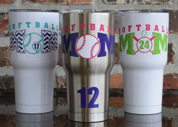 Rtic 30 ounce softball tumbler softball mom stainless powdercoat colored tumbler softball tumbler softball decal